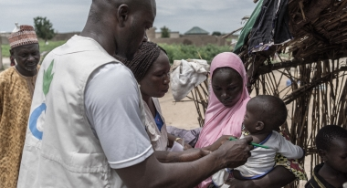 The Nigerian government declared a nutrition emergency in Borno State in early July 2016. Action Against Hunger launched a new emergency program in Monguno in Borno within weeks, reaching displaced families who had been cut off from assistance for almost two years. Photo: Guy Calaf for Action Against Hunger, Monguno, Borno, Nigeria