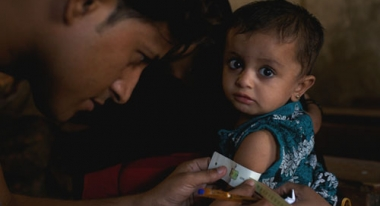 A young girl in Sindh Province is treated for malnutrition. Photo: ACF-Pakistan, E. Diaz