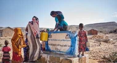 Action Against Hunger's emergency response in Somalia includes projects like this one, a water distribution system in the Eyl district. Photo: Khadija Farah for Action Against Hunger, Somalia