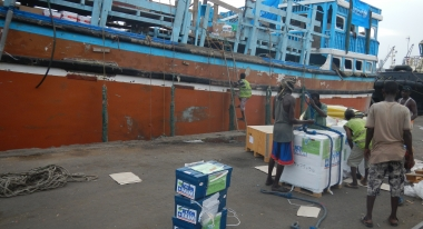 Loading humanitarian aid in Djibouti destined for Action Against Hunger programs in Yemen. Credit: Action Against Hunger