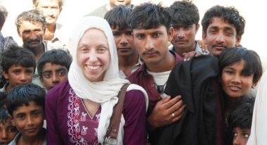 Kendra in Thatta with locals.