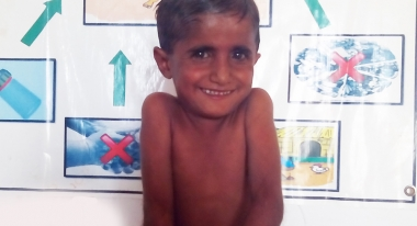Nazeer, feeling much better after treatment. Credit: Riaz Ali Khoso for Action Against Hunger