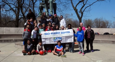 Near North Montessori Students at their Race Against Hunger in Chicago.