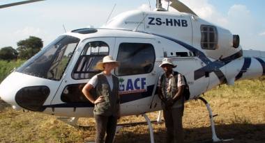Suzanne Fuhrman, Action Against Hunger's SET coordinator, and SET member, Martin Njenga, about to board the helicopter for our nutritional survey in Fashoda, South Sudan. Photo: ACF South Sudan
