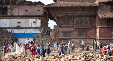 People clearing New Road near Durbar Square in Kathmandu, Nepal. Photo: Agnes Varraine-Leca
