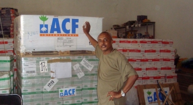 Walle Yitayew at our warehouse in Juba, preparing for deployment. Photo: ACF South Sudan