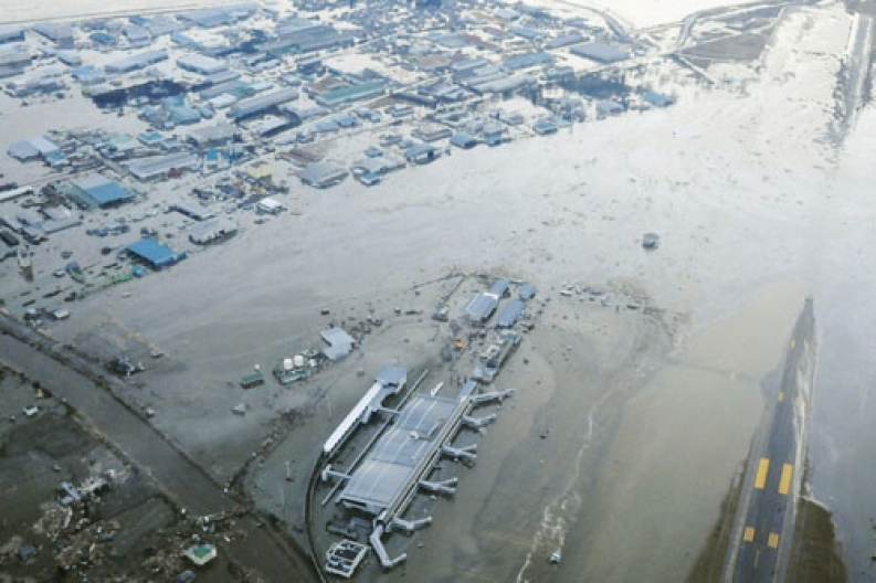 Tsunami-swamped airport in Japan