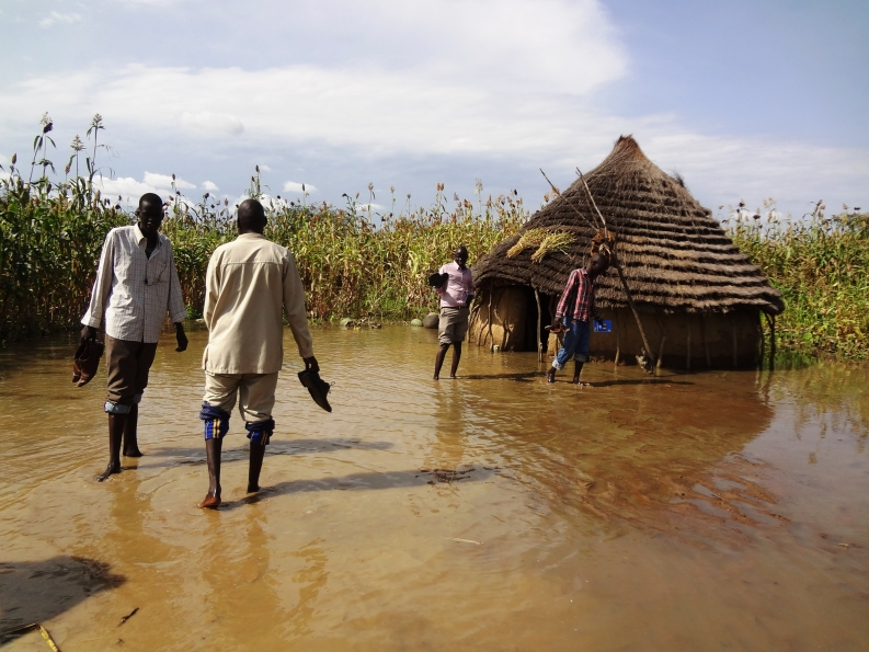 Flooded crops and home in South Sudan