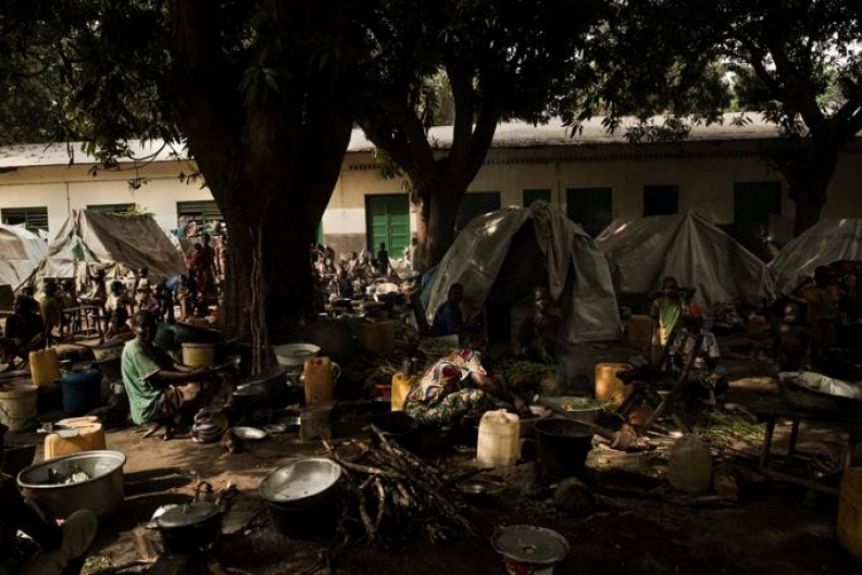 Displaced people in Bossangoa gather at a camp near a local church. Photo: ACF-CAR, S. Dock