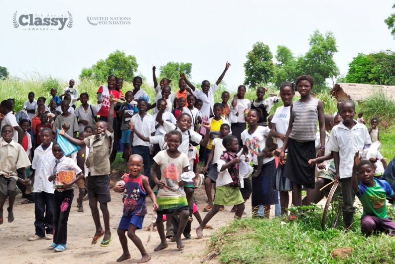Children jump for joy in Democratic Republic of Congo