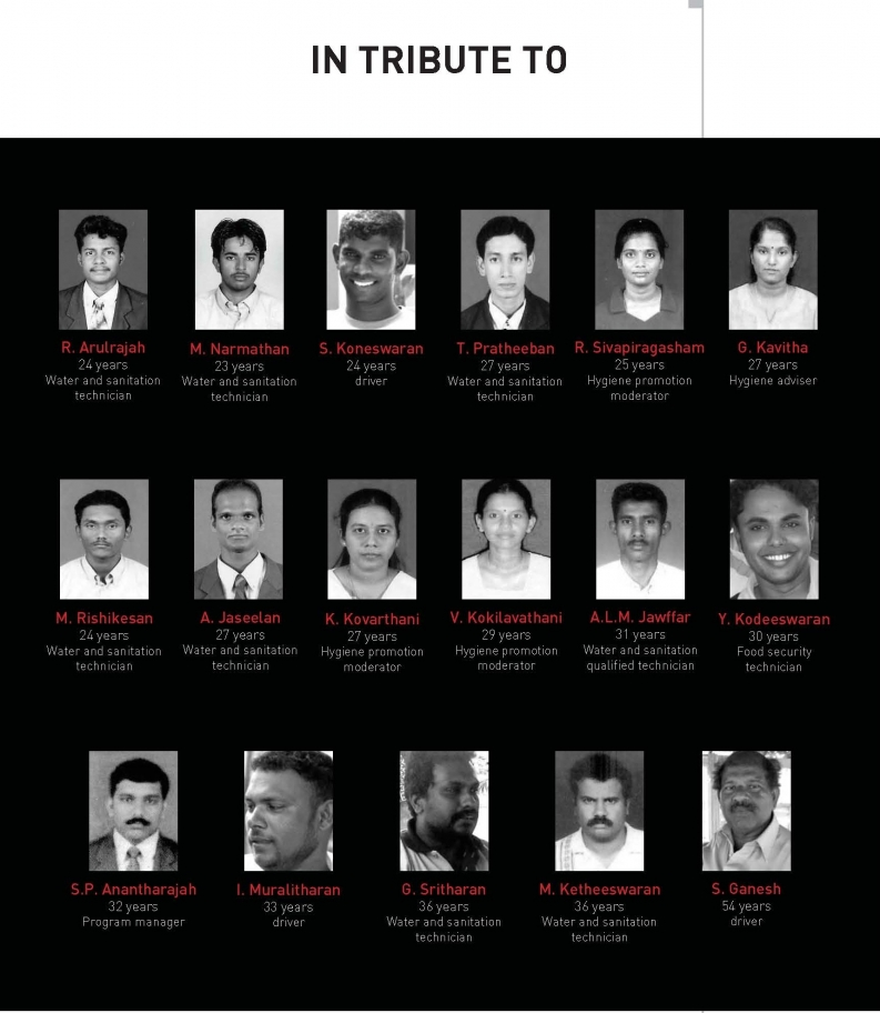 Action Against Hunger commemorates the lives of 17 of its aid workers assassinated in Muttur, Sri Lanka on August 4, 2006.