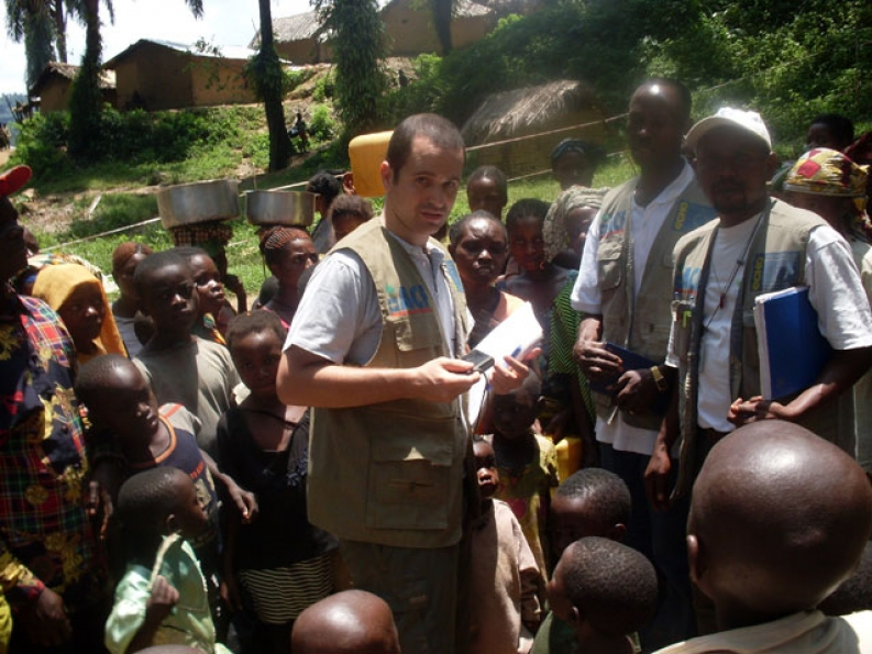 Nick Radin, our Water, Sanitation and Hygiene Advisor on a field visit to the Democratic Republic of Congo.