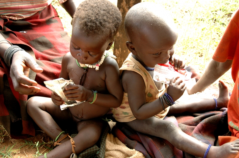 Karamojong children enrolled in ACF's nutrition programs. Credit: T. Frank