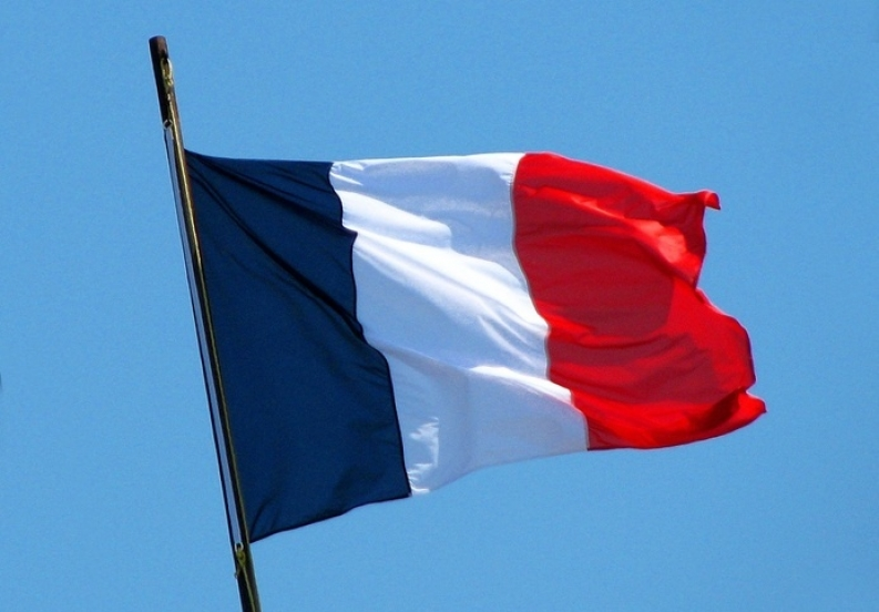 French flag waving in the wind.