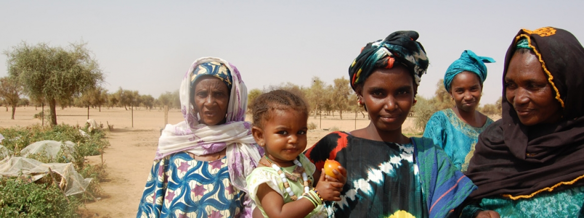 Women in Mauritania harvest fruit from their garden for their children.