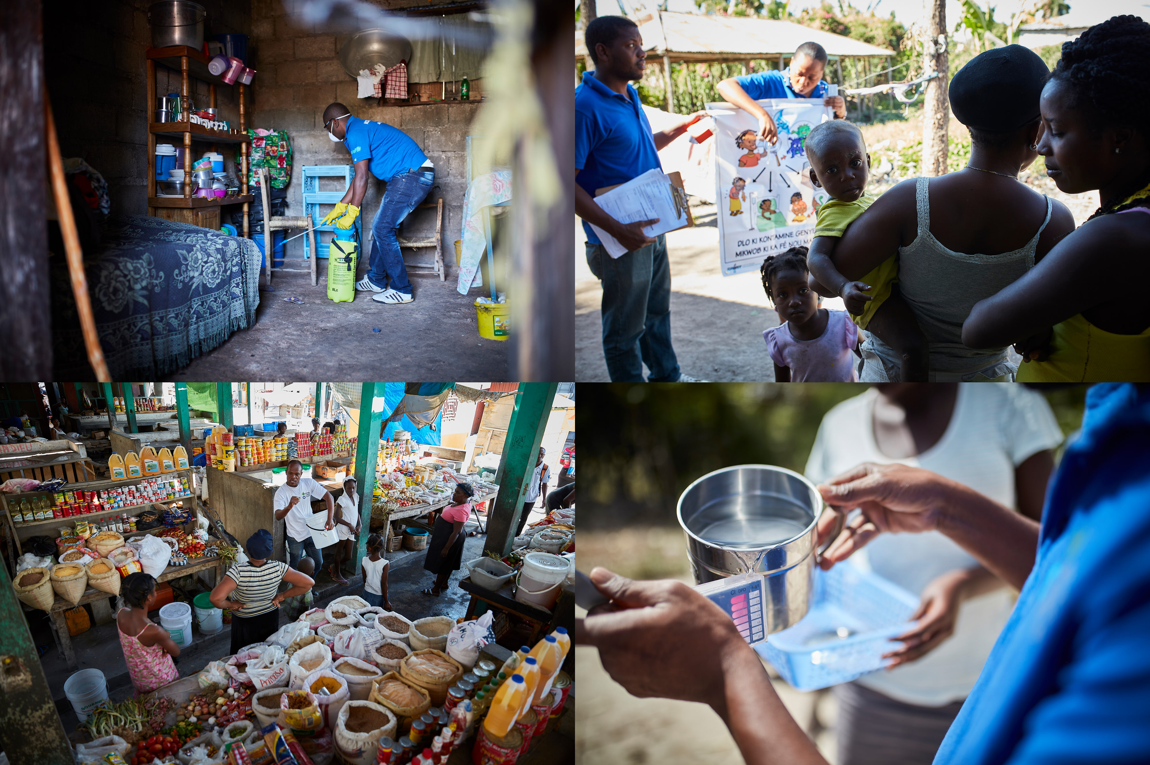 Action Against Hunger teams decontaminate homes, test water sources, and hold hygiene awareness sessions.
