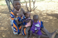 Chepokuo with her sons, Musto and Porriot. Photo: ACF-Kenya, E. Chepkwony