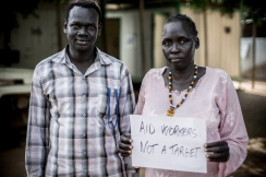Peter Majok Yak and Maria Apet Mayen are both Stabilization Center Nurses for Action Against Hunger in Malualkon, South Sudan. Photo: Guy Calaf and Lys Arango for Action Against Hunger, South Sudan.