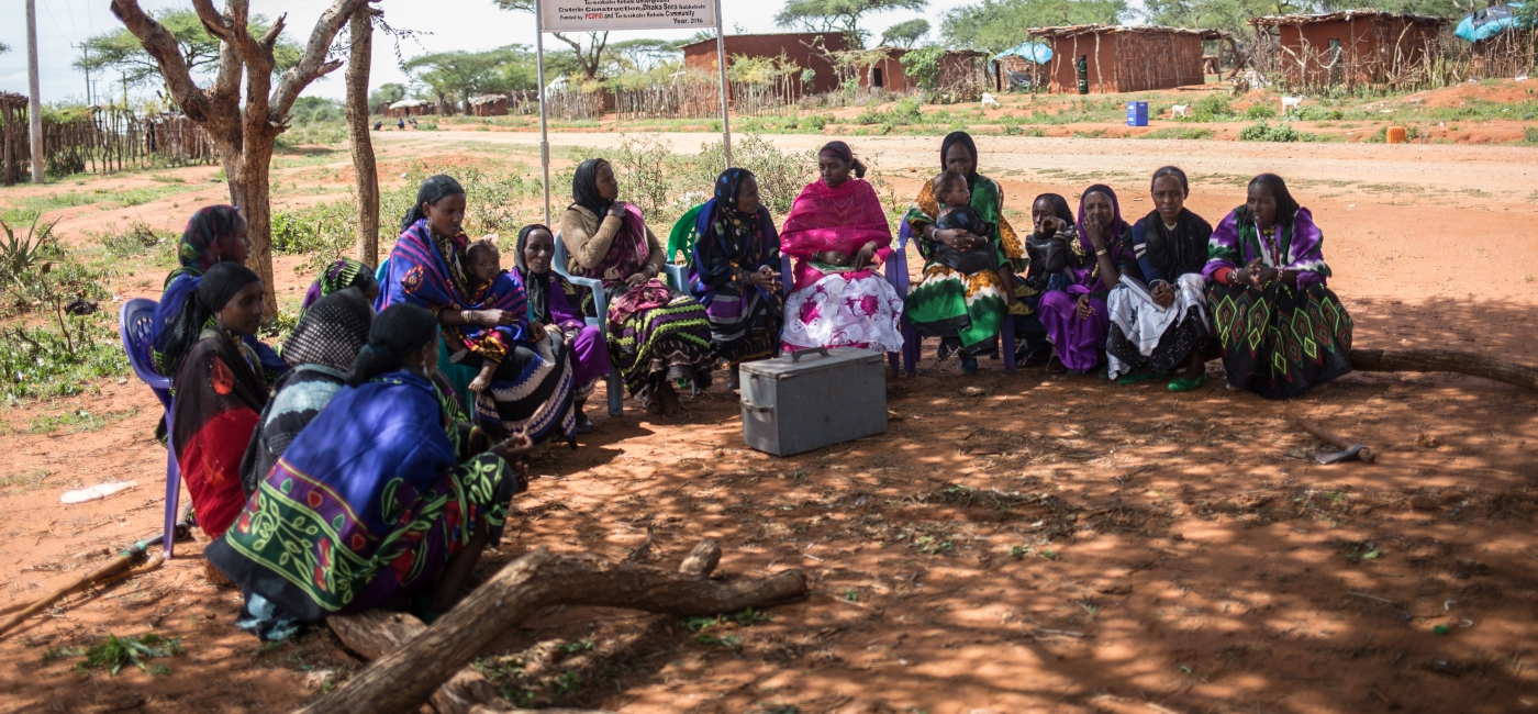 Mothers in Borena, Ethiopia, gather for a meeting.