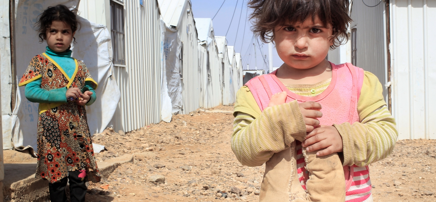 Syrian children in Azraq refugee camp, Jordan