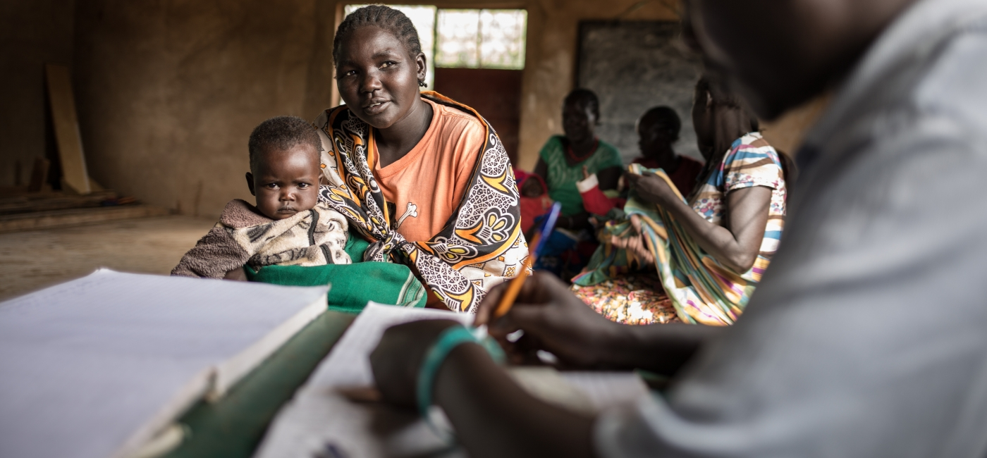 An Action Against Hunger team carries out an integrated maternal, newborn and child health and nutrition outreach screening in North Pokot, Kenya.