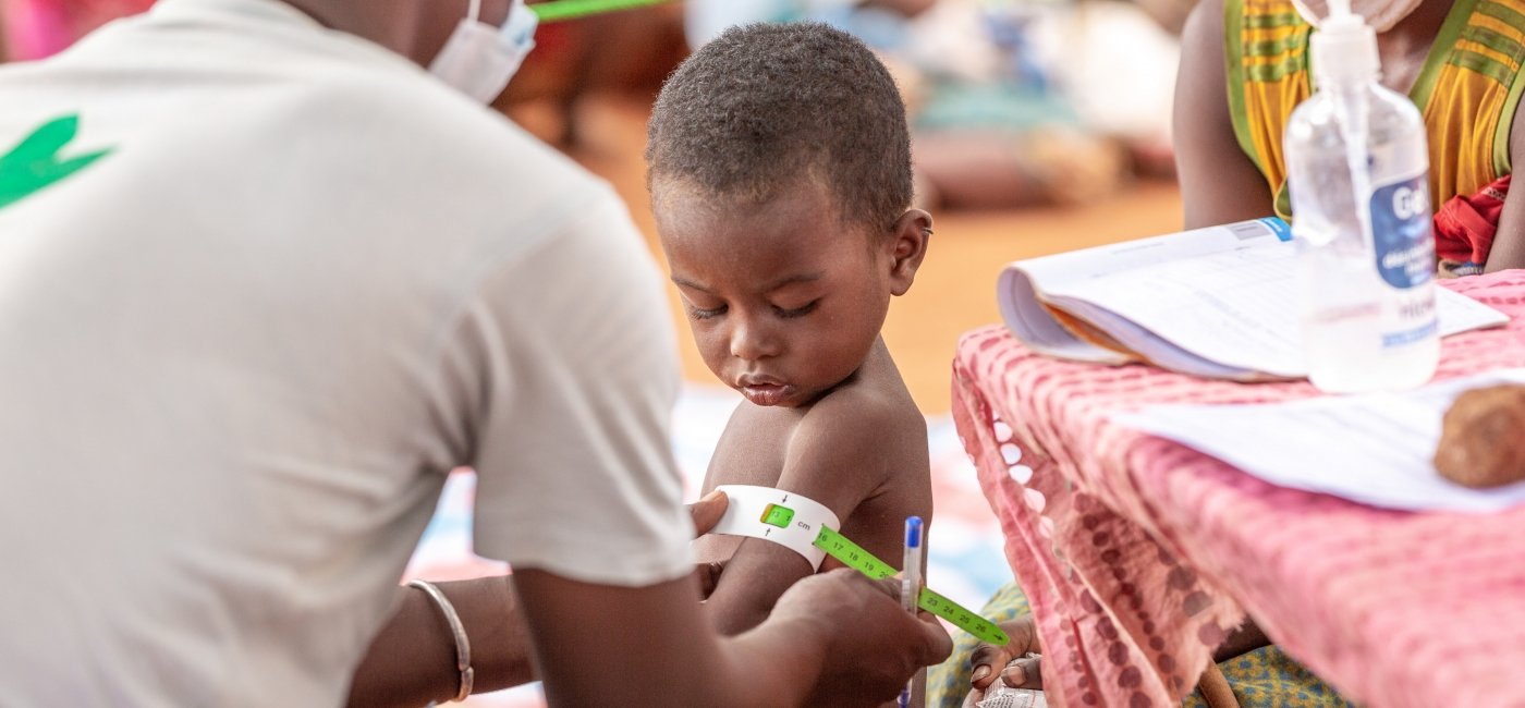 A child is screened for malnutrition in Madagascar.