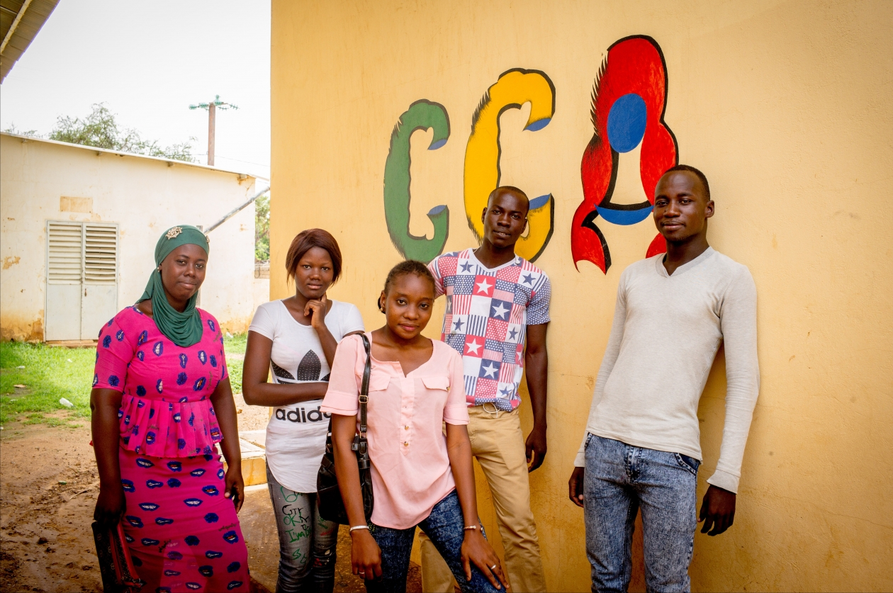 Peer Educators at a youth advice center in Matam, where young people can learn about family planning.