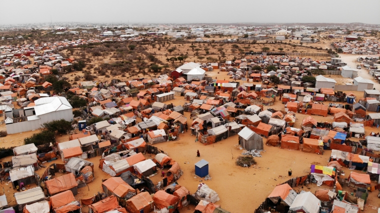 An aerial view of the crowded Kahda Displacement Camp