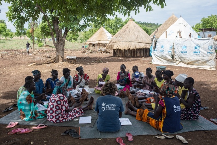 A meeting of one of Action Against Hunger's mother-to-mother support groups in Nguenyyiel Refugee Camp.