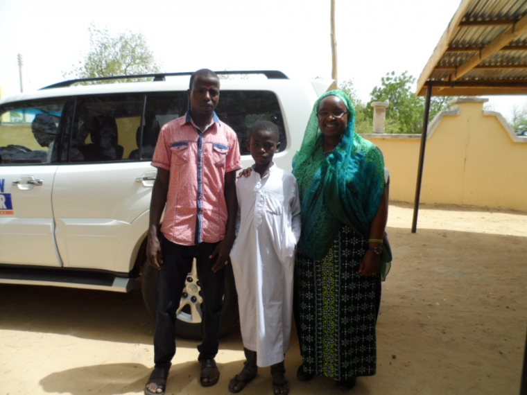 From left to right: Ezekiel, Bulama's supervisor; Bulama; and the author, Action Against Hunger's Senior Logistics and Procurement Advisor Alice Shivairo.