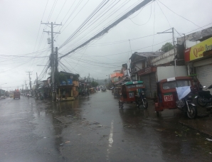 The flooded streets of a town hit by Typhoon Hagupit. Photo: ACF-Philippines