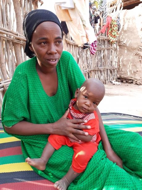 Fatuma and her nine-month-old son, Ami, who is recovering from acute malnutrition.