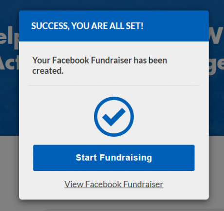 Screenshot of step 3 in the facebook fundraiser signup