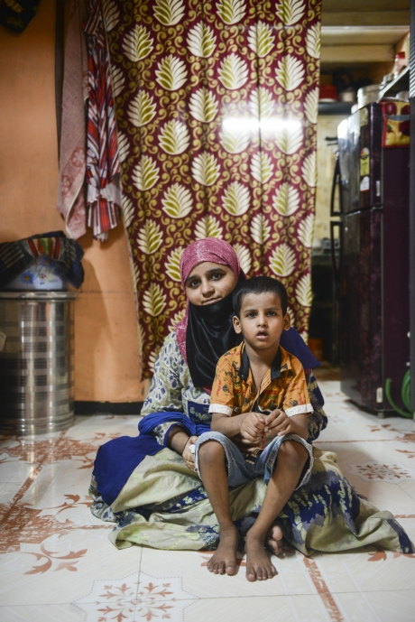 Sayyed with her youngest son, who was recently diagnosed with acute malnutrition.